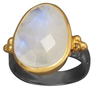 HOT ITEM NEW 14 karat Gold Plated Two Tone Rainbow Moonstone Ring