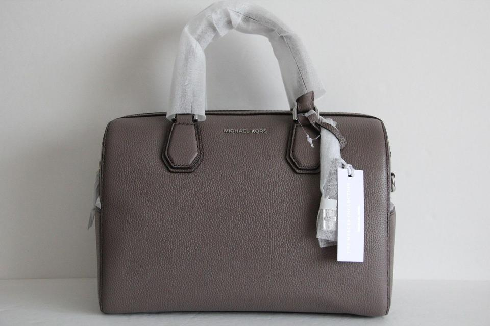 4fb3c858f372 Michael Kors Mercer Studio Leather Satchel in Cinder Image 11.  123456789101112