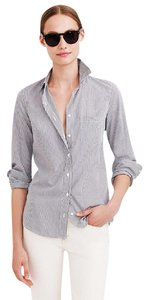J.Crew Striped Poplin Button Work Shirt Button Down Shirt Blue white