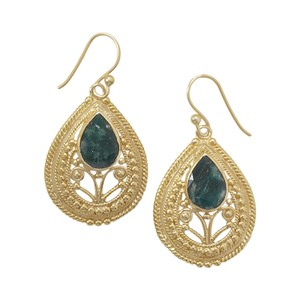 NEW ARRIVAL NEW Ornate 14 Karat Gold Plated Rough-Cut Emerald Earrings