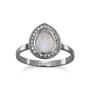NEW ARRIVAL Midnight Collection Halo Ring With Gray Diamonds and Moonstone