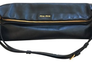 Miu Miu Calfskin Gold Hardware Leather Shoulder Bag