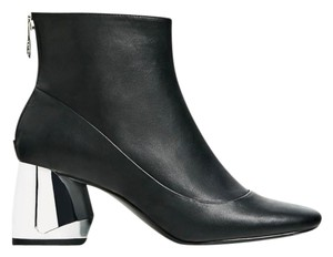 Zara Metal Silver Night Out Black Boots