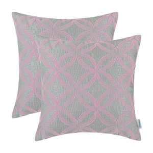CaliTime Pillow Covers 18 X 18 Circles Gray Baby Pink Set of 2