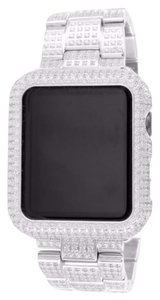 Apple Apple Iced White Gold 42MM Bezel and Band Lab Diamond Stainless Steel