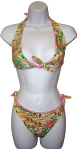 Other Zuliana - Multi Color Tropical Print Tie Top and Bottom Bikini Swimwear - Size S