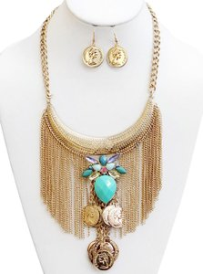 Other Turquoise Coin Statement Necklace & Earrings
