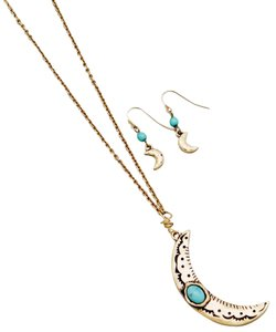 Other Long Moon Necklace with Earrings