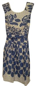 Other short dress Blue/White Floral Belted Sleeveless Spring on Tradesy