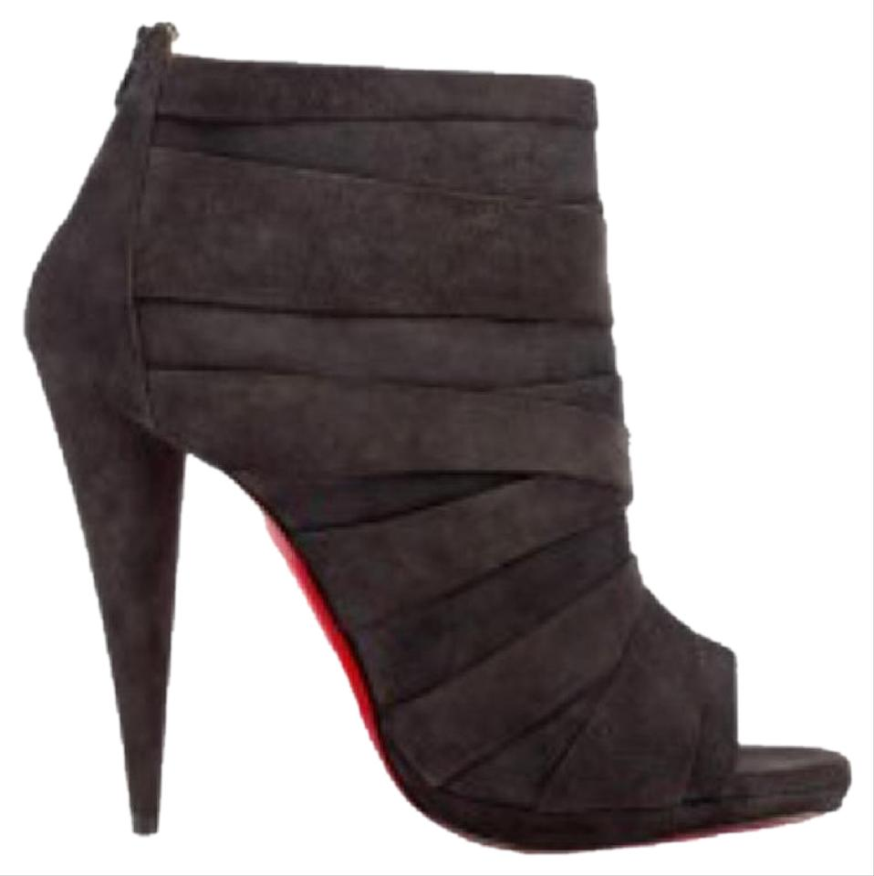 Christian Louboutin Gray Drapicone Suede Open Toe Stiletto Fusain Suede Drapicone Boots/Booties cff27a