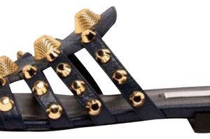 Balenciaga navy blue with gold hardware Sandals