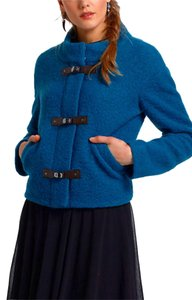 Anthropologie Warm Wool Blend Cropped Decrative Buckles Blue Jacket