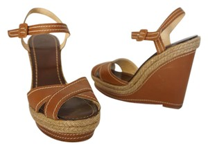 Christian Louboutin Louboutin Sandals Platform Sandals Crossover Brown Wedges
