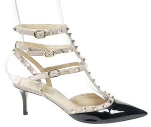 Valentino Rockstud 39 Pointed Toe Ankle Strap Patent Leather Black Pumps