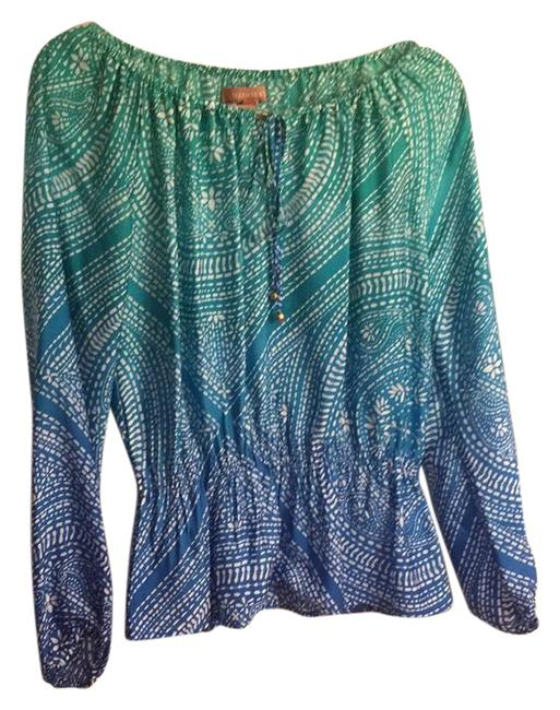 Item - Royal Blue White with Green Long Sleeve Peplum Blouse Size 2 (XS)