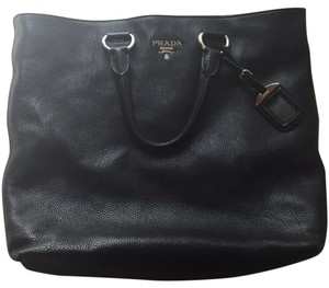 Prada Silver Hardware Leather Tote in Black