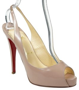 Christian Louboutin No Prive 39.5 Peep Toe Slingback Leather Nude Pumps