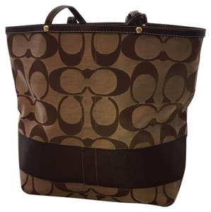 Coach Tote in Light and Dark Brown