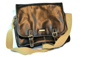 Kenneth Cole Faux Leather Messenger Laptop Black Messenger Bag