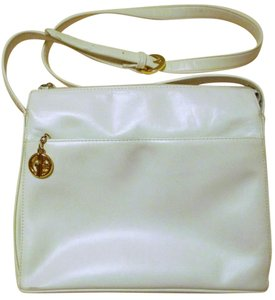 Giani Bernini Glazed Leather White Leather Shoulder Bag