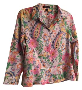Lauren Ralph Lauren Button Down Shirt pinks, whites, blues, yellows, greens