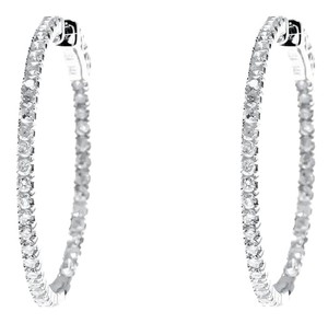 Other 14k White Gold In/Out Round Prong Diamond 28mm Hoops Earrings 1 Ct