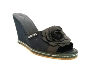 Chanel Camilla Slip On Navy and Black Wedges