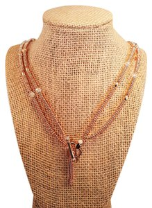 Juicy Couture Juicy Couture Tassel Beaded Rose Gold Necklace