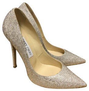 Jimmy Choo Choo Crystal Tartini Silver Pumps