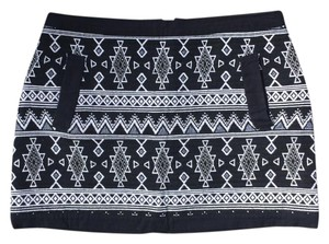 Topshop Aztec Mini Skirt Black & White