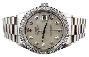 Rolex Mens Rolex Datejust Oyster Presidential Mother Pearl 36MM Watch 2.5 Ct