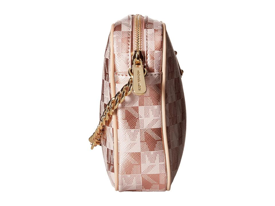 5305b81fdc8a Michael Kors Jet Set Large East West Checkerboard Metallic Rose Gold ...