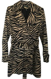 Lauren Ralph Lauren Trench Zebra Tan Black Short Trench Coat
