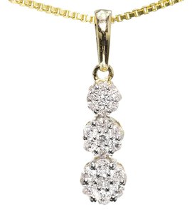 Other Ladies 14k Gold Round 3 Stone Graduated Flower Cluster Diamond Pendant