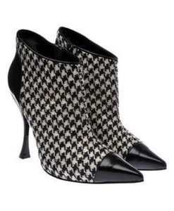 Alexander McQueen Houndstooth Tweed Ankle Stiletto Black & White Boots