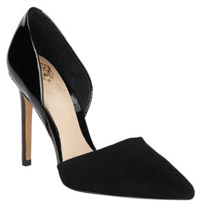 Vince Camuto Pointed Toe Leather Black Pumps