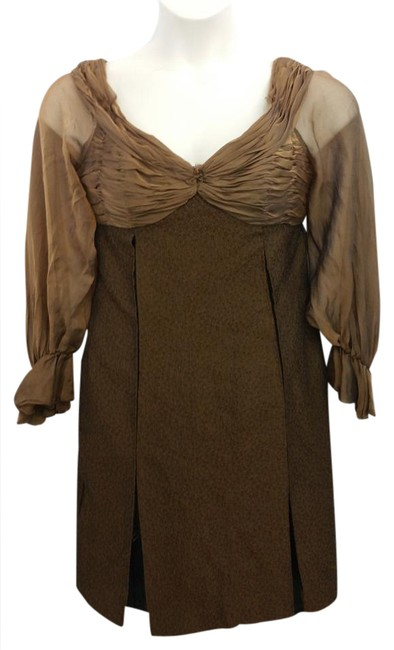 Item - Neiman Marcus Off Shoulder Brown Mid-length Night Out Dress Size 10 (M)