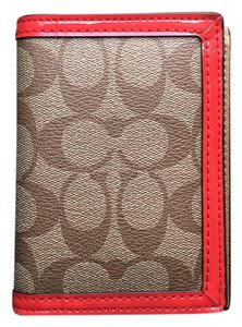 Coach Coach Khaki/Orange Passport Cover