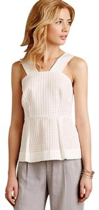 Maeve Textured Basket Weave White Pleating Top White Peach