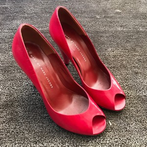 Marc by Marc Jacobs Leather Open Toe Red Pumps