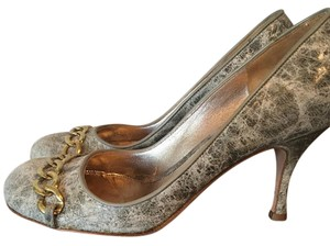 Alexander McQueen Leather Gold Chain Marbled Distressed Limited Edition Pumps