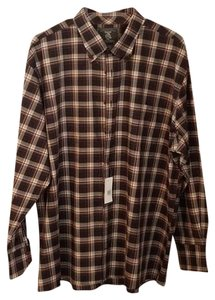 Maker & Company Mens Longsleeve Sportshirt Checkered Button Down Shirt Black, Brown, White, Blue