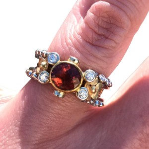 Other Designer One-of-a-Kind 22K/18K gold Salmon Tourmaline Diamond ring