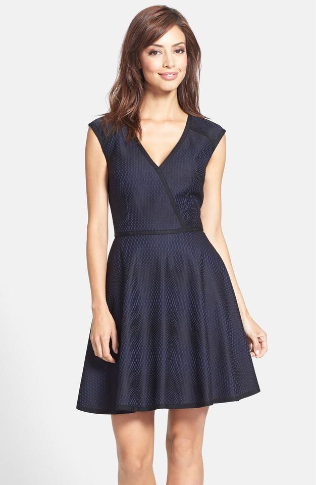Trina Turk Navy and Black Dot Corina Cut-out Fit-and-flare Short ...