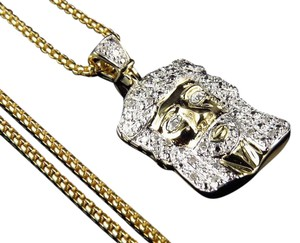 Other 10K Yellow Gold Jesus Face Diamond Pendant Charm 0.25 Ct with Chain