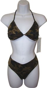 Zuliana Black Brown Olive & Tan Camouflage Booty Shorts with Thong Bikini Size S