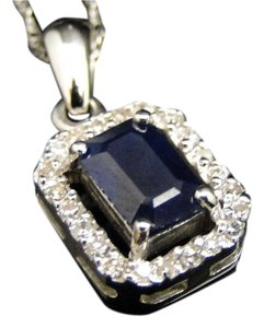 Other Ladies 14K White Gold Sapphire Genuine Diamond Pendant Charm & Chain