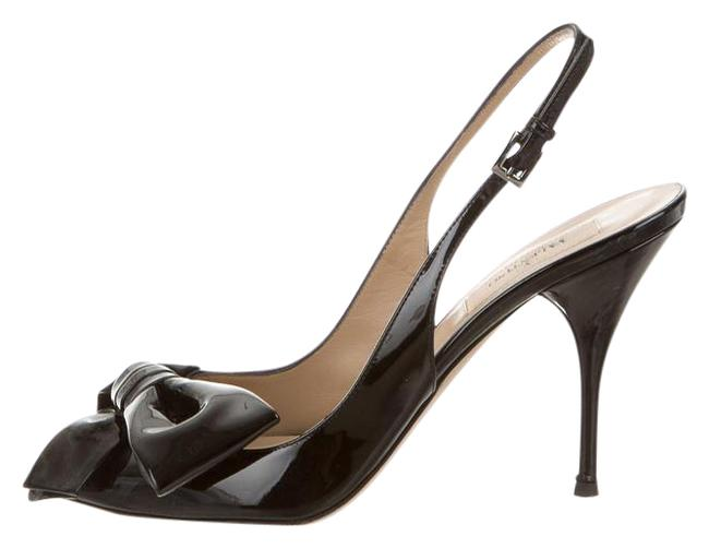 Item - Black Patent Leather Open Toes Bow Slingback Formal Shoes Size US 7.5 Regular (M, B)