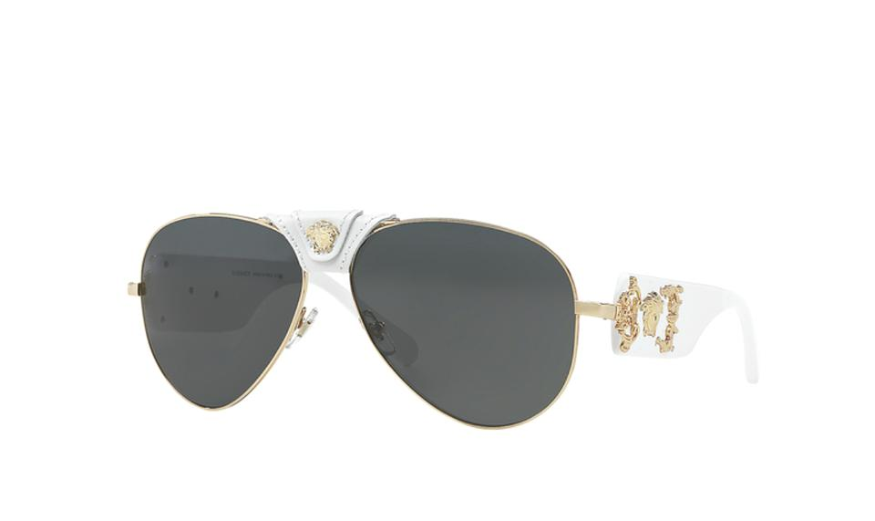 d554086d82 Versace VERSACE ROCK ICON Sunglasses VE 2150-Q 1341 87 Gold   White  Aviator. 12345678