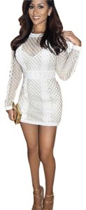bebe short dress white and gold on Tradesy